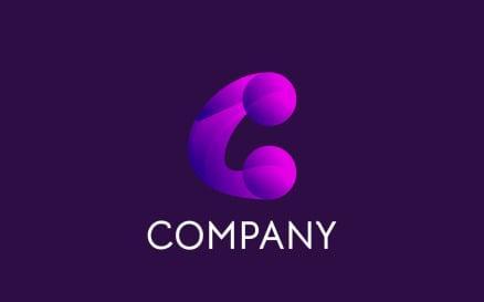 C Gradient - Purple Logo Template