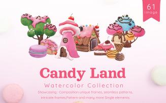 Sweet Candy Land, Cartoon Watercolor Illustration