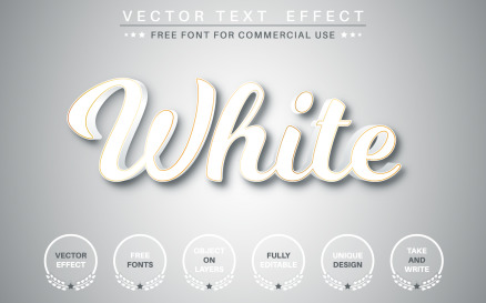 White Text With Gold Stroke - Editable Text Effect, Illustration Graphics