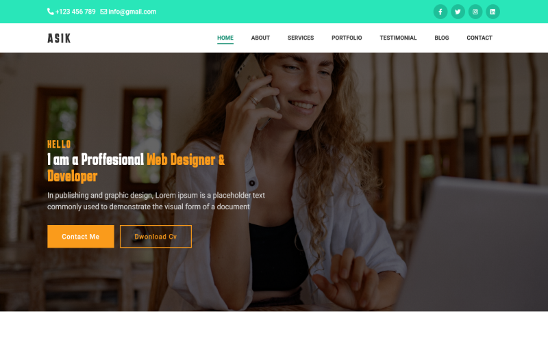 Asik - Personal Portfolio Bootstrap5 Landing Page Template