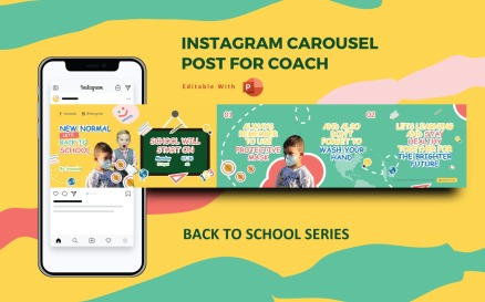 Back to School New Normal - Instagram Carousel Powerpoint Social Media Template