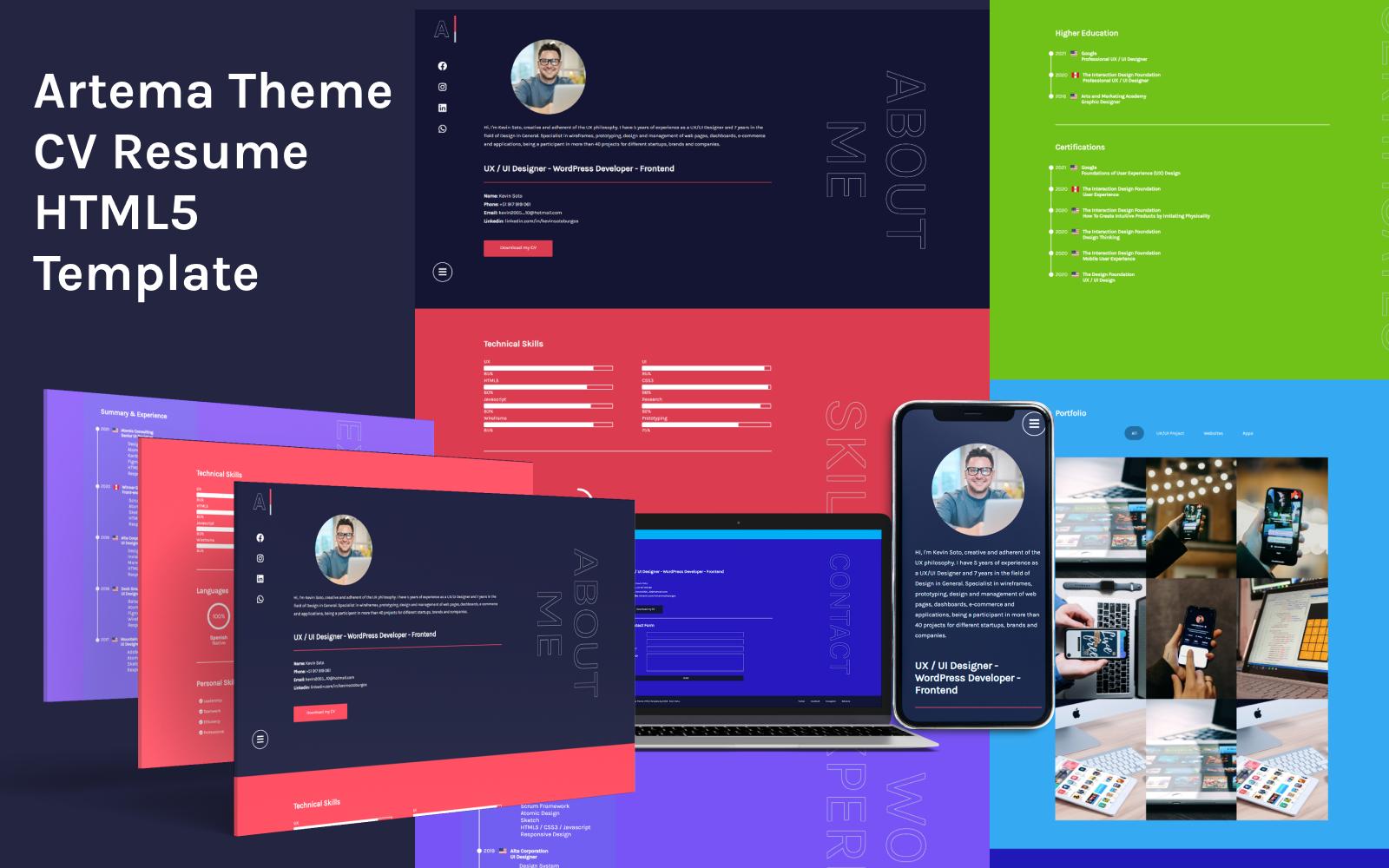 Artema Theme - CV Resume One Page HTML Landing Page Template