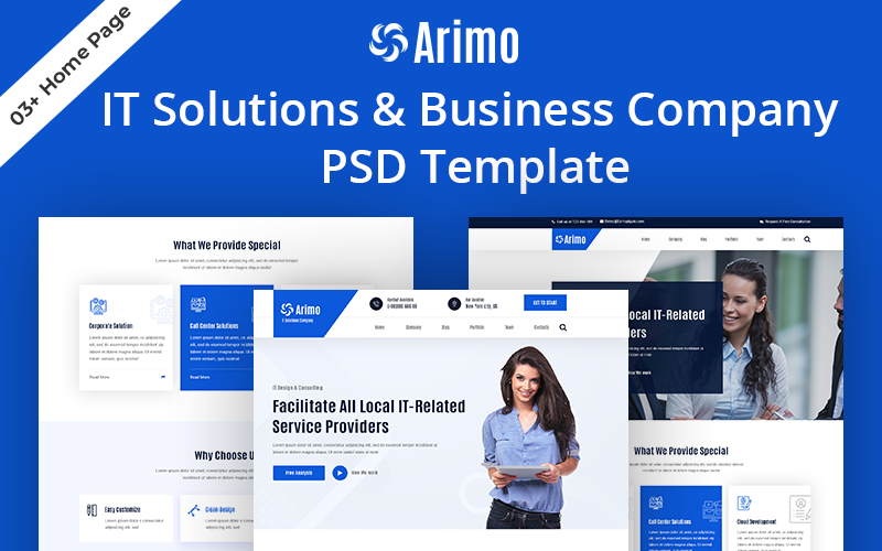 Arimo-IT Solutions & Business Company PSD-sjabloon