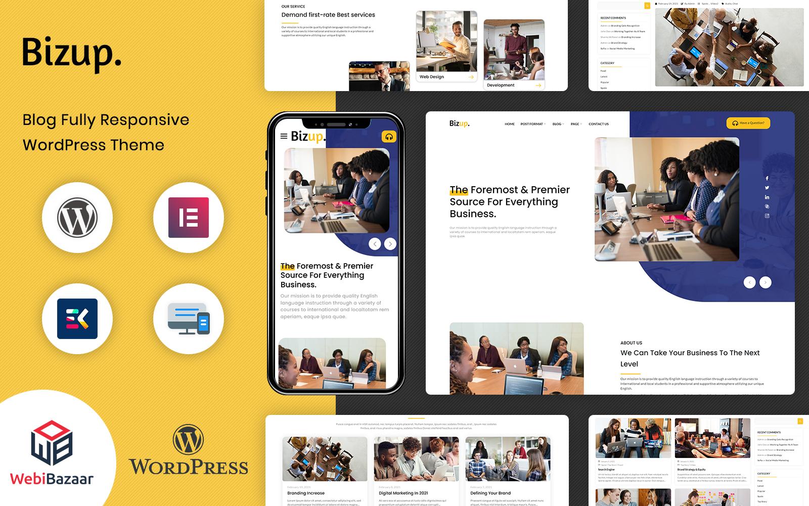 Bizup - Többcélú üzleti tanácsadás Elementor WordPress téma