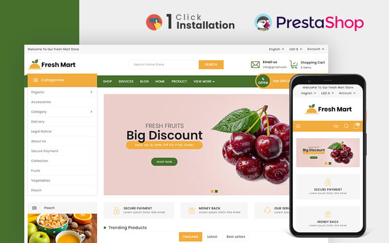 FreshMart Organic & Grocery Store Prestashop-thema