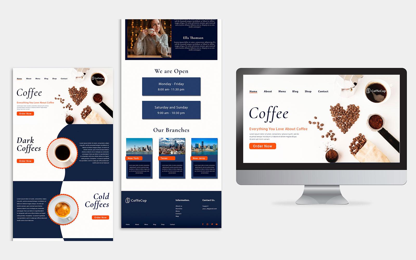 PSD-ontwerpsjabloon voor bestemmingspagina's voor koffiehuizen