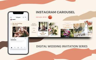 Digital Wedding Invitation- Instagram Carousel Powerpoint Social Media Template