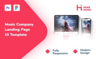 Hear Music - Music Company Responsive Modern Landing Page UI Template