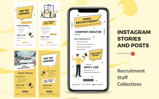 Instagram Stories and Posts Powerpoint Social Media Template - Recruitment Staff Collection