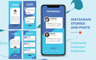Instagram Stories and Posts Powerpoint Social Media Template - Testimonial Collection