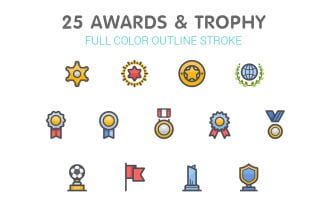Awards & Trophy Line with Color Iconset template