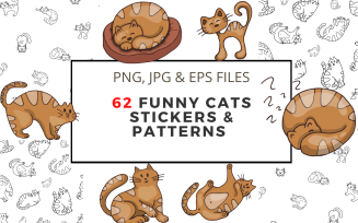 62 Funny Cats Stickers and Patterns Vector Drawings Illustration