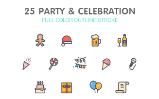 Party & Celebrate Line with Color Iconset template