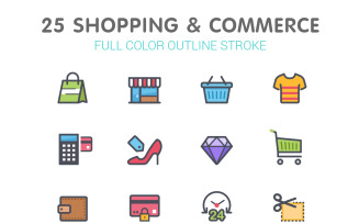 Shopping & Commerce Line with Color Iconset template