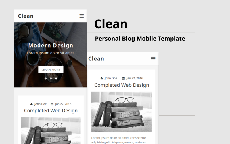 Clean - Personal Blog Mobile Website Template