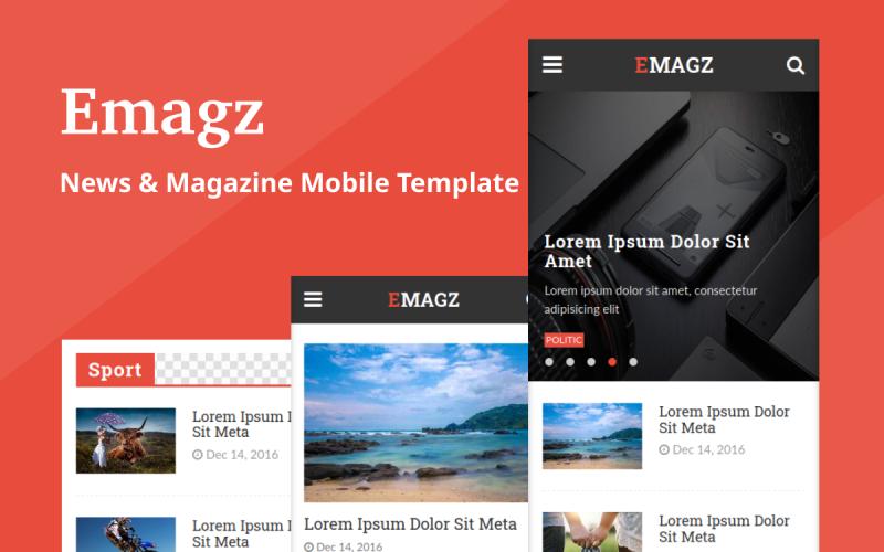 Emagz - News & Magazine Mobile Website Template