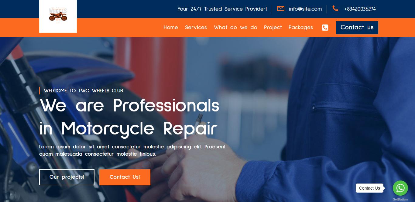Motorcycle Repair Service Landing Page