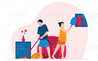 Cleaning the House Vector Illustration