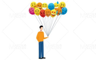 Emotions and Moods Vector Illustration