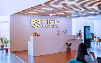 3d Office Reception Logo Mockup