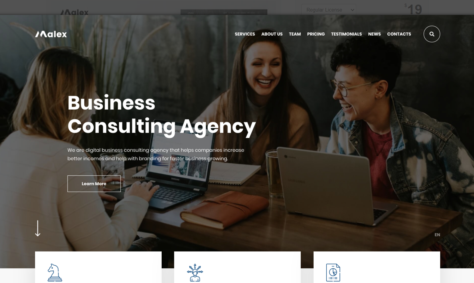 Malex - PSD-sjabloon voor Business Consulting Agency