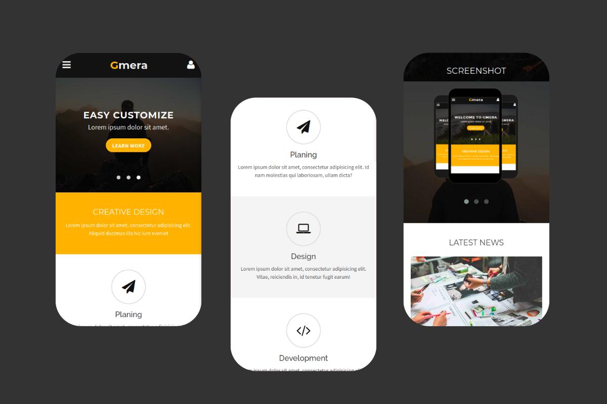 Gmera - Multipurpose Mobile Website Template