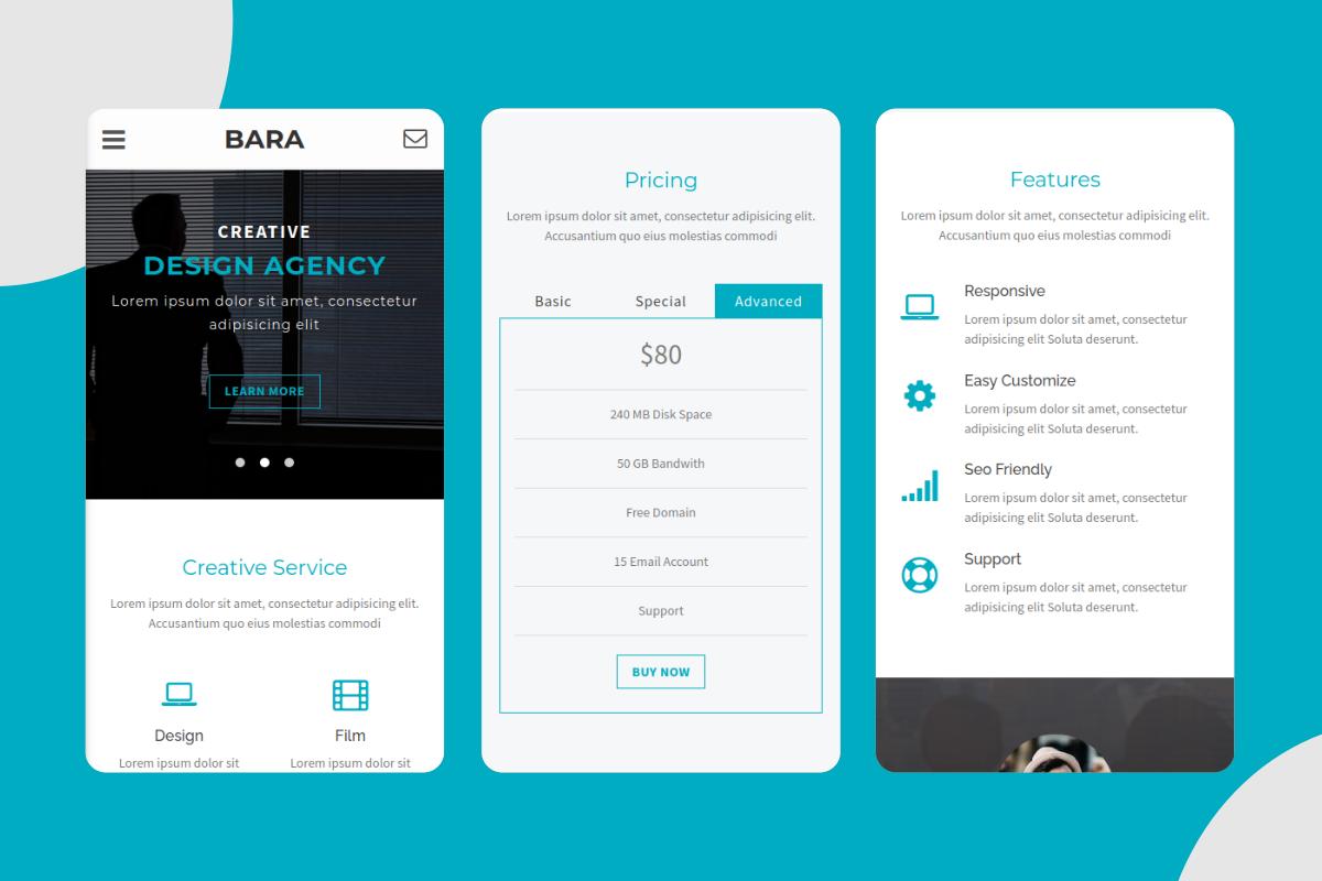Bara - Creative Mobile Website Template