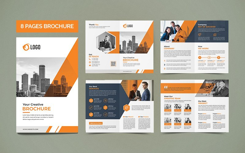 Free Minimal 8 Pages Brochure Template Corporate Identity