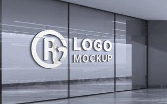 Glass Wall Logo Mockup Design Product Mockup