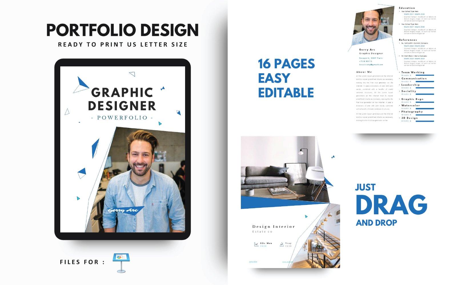 Grafisch ontwerper Portfoliosjabloon Keynote-presentatie