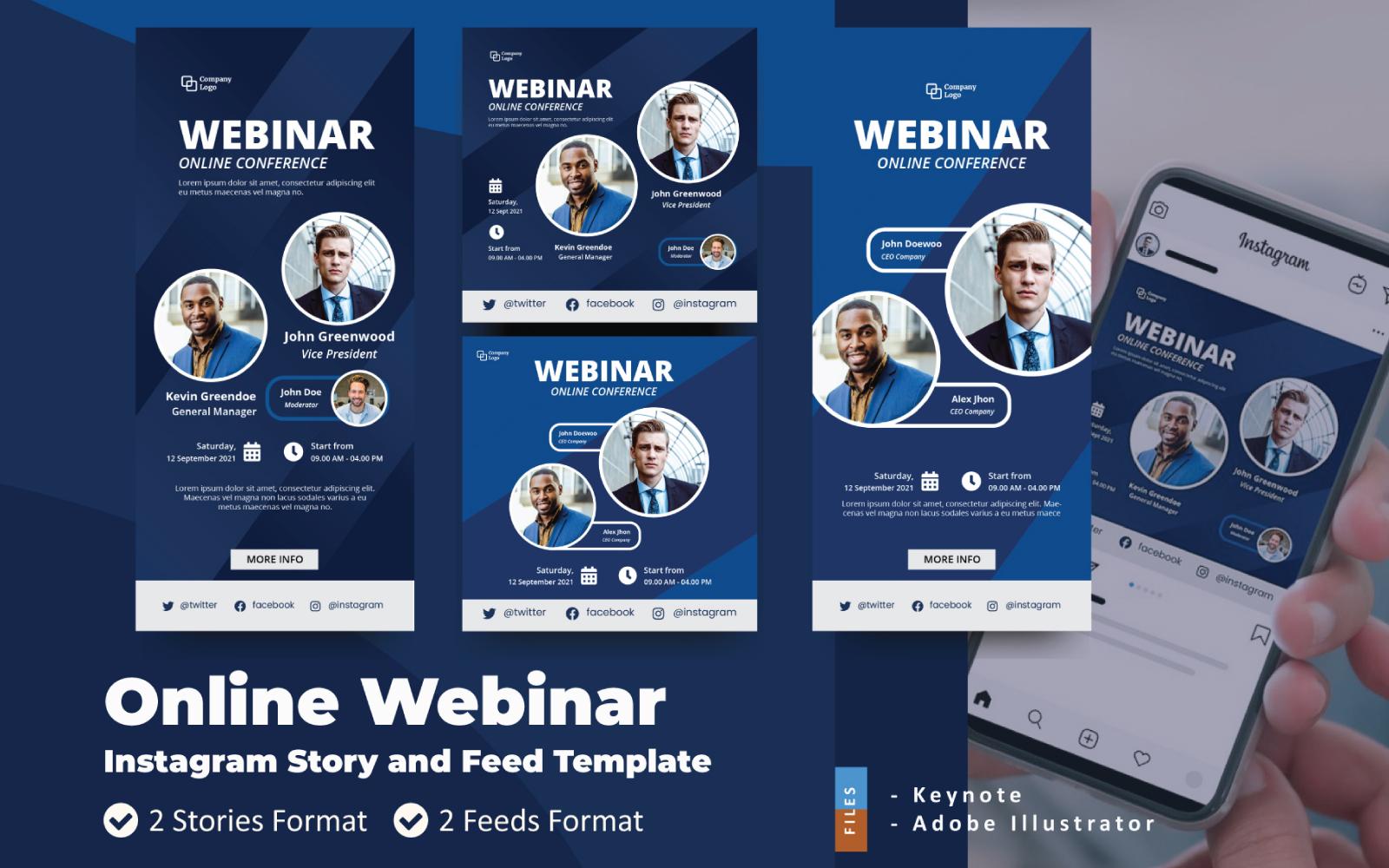 Online webinar Instagram-verhaal en feed-keynote-sjabloon