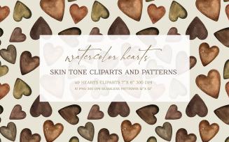 Watercolor Heart Shapes Patterns JPG ang PNG