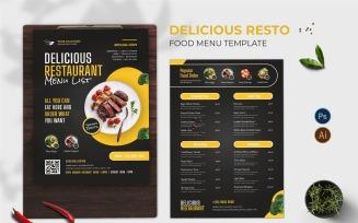 Delicious Resto Food Menu Print Template