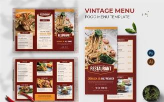 Vintage Menu Food Menu Print Template