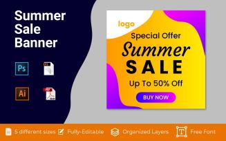 Summer Sale Social Media Ad Banner Design