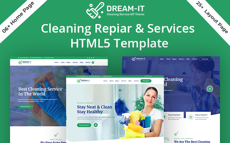 DreamIT- Cleaning & Repair Service HTML5 Website Template