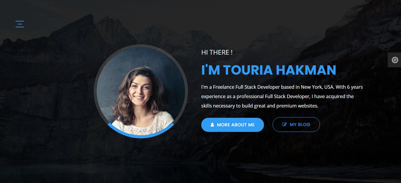 Touria - Personal Portfolio Landing Page Template