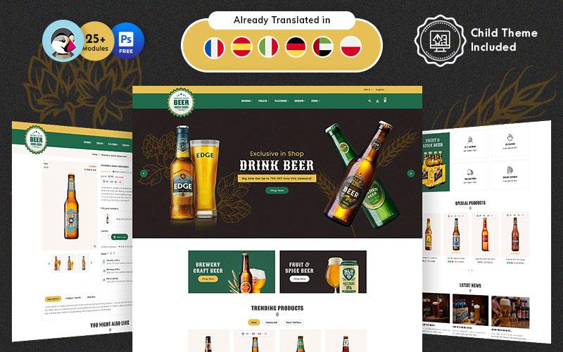 Ambachtelijk bier PrestaShop-thema voor online brouwerijwinkel