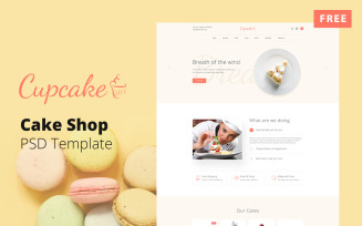 Cupcake - Free Cake Shop Website Design PSD Template