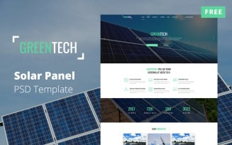 Solar Panel Website Mockup - Free PSD Template
