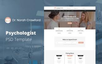 Dr. Norah Crawford - Psychologist Website Template PSD