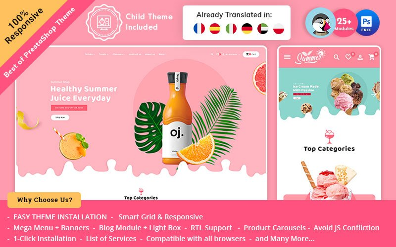 Summer Juices & Shakes - PrestaShop Responsive Theme