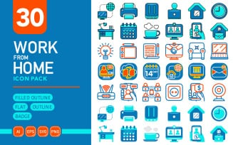Work From Home - Vector Icon Pack