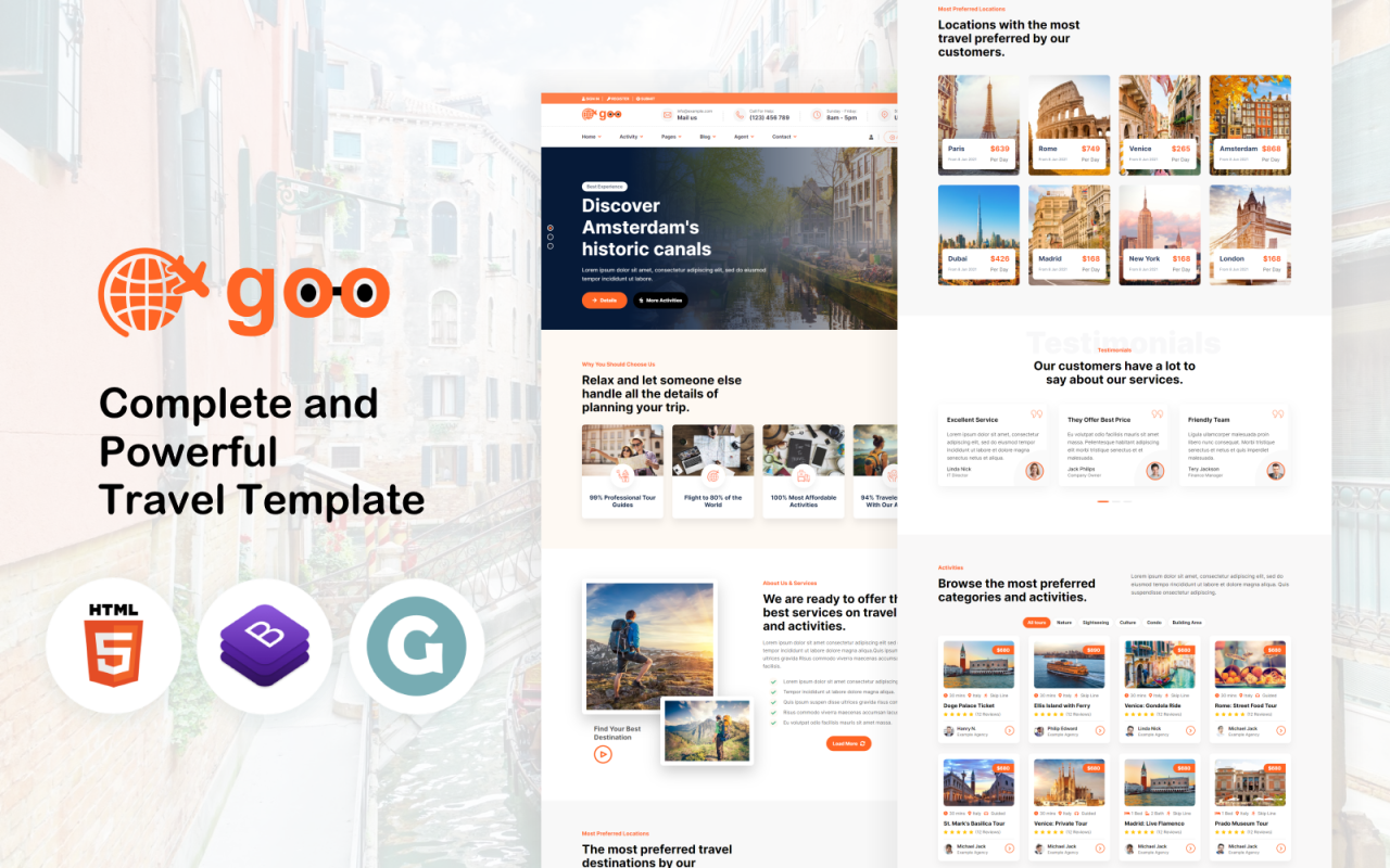 Goo Travel - Travel Booking and Agency Website Template