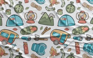 Camping - Vector Seamless Pattern