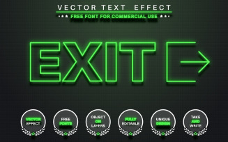 Glow Green Outline - Editable Text Effect, Font Style, Graphics Illustration