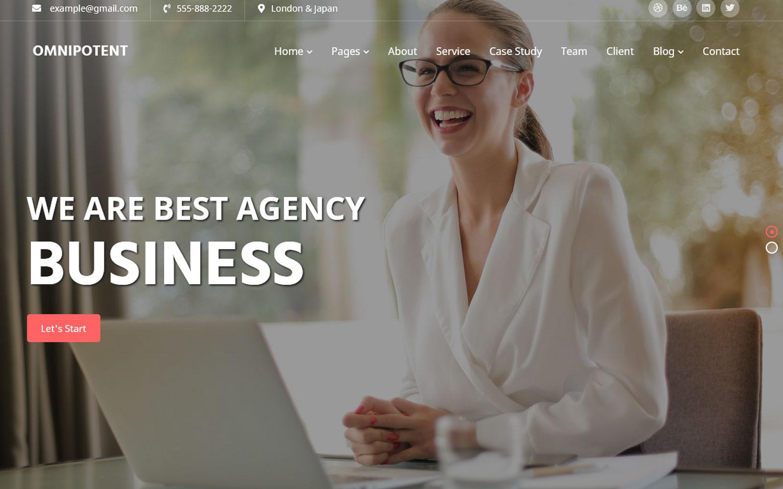 Almachtig -sjabloon voor zakelijke website met meerdere pagina's