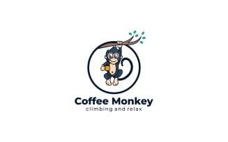 Coffee Monkey Mascot Cartoon Logo Template