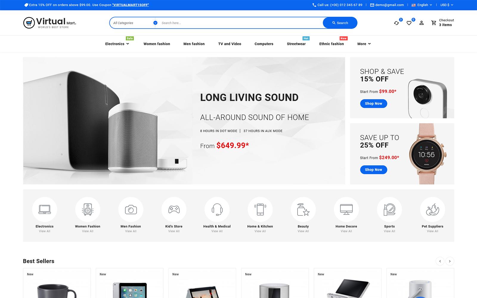 Virtualmart - Elektronicawinkel Multifunctioneel PrestaShop-thema