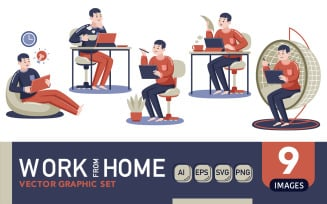 Work From Home #01 - Vector Graphic Set